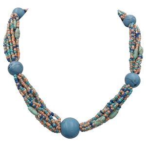 Pastel Multicolor Seed Bead Turquoise Necklace